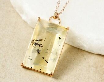 Light Yellow Dendrite Quartz Necklace - Dendritic Quartz Pendant - One of a Kind