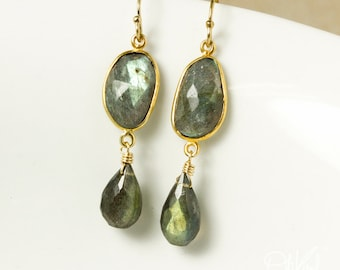 Gold Free Form Labradorite and Labradorite Teardrop Earrings - Choose Your Labradorite Earrings