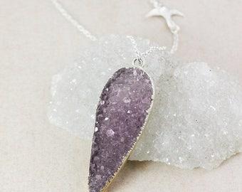 50% OFF Silver Purple Druzy Necklace – Choose Your Druzy – Sparrow Charm