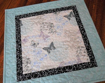 Butterfly Table Topper, Quilted Table Topper, Butterflies Table Runner, Square Table Topper, Aqua Lavender Black, Candle Mat