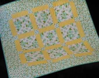 Aqua and Yellow Baby Quilt with Daisies and Roses, Modern Girl Baby Quilt, Nap Mat Blanket, Quilted Tablecloth, Quilted Table Topper
