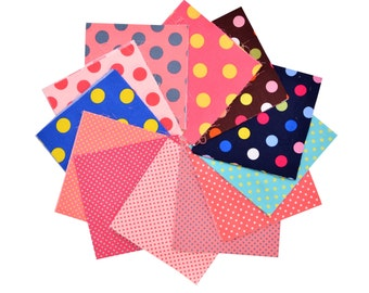 """Quilt Cotton Fabric 48 Charm Pack 5x5"""" Squares Retro Scandinavian Pastel Polka Dot in Multi-Colored"""