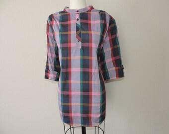 purple plaid blouse 70s oversize windowpane henley plus size 2X 3X new old stock