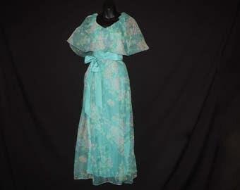 boho blue floral prairie dress 1970's woodland wedding / angel wing festival gown Richilene turquoise roses medium