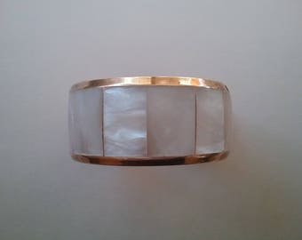 Mother Of Pearl Inlaid Brass  Vintage Bracelet Accessories Free Shipping To The Usa And Canada