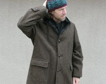 Vintage Mens Jacket Winter Over Coat Heavy 100 Percent Wool Tweed Chocolate Brown Black Fake Faux Fur Warm Large XLarge