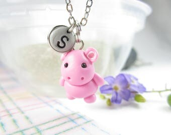 Pink Hippo necklace, Initial necklace, personalized necklace, hippo jewelry, cute unique gift, hippopotamus necklace, cute hippo animal