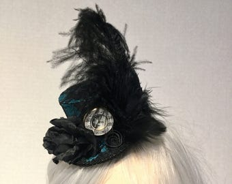 Black and Teal mini top hat