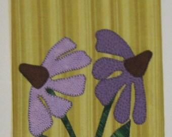 Purple Prairie Coneflower Yellow Towel, Appliqued, Spring Towel, Tea Towel