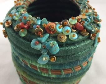 Embellished Turquoise Pine Needle Basket by Marcie Stone