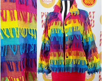 Incredible Colorful Rainbow Fringe Jacket - Very Psychedelic Muppet Chic!