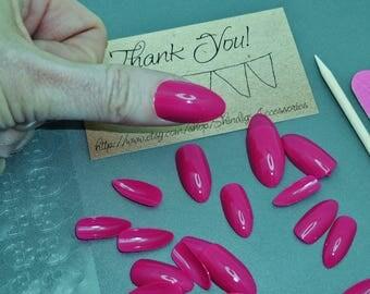 Finger Nail Art Manicure Kit Press On Nails Fake Arcylic Pedicure Summer Finger File Cuticle Tool Adhesive Magenta Rose