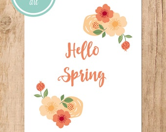 Hello Spring Printable Art - Peach Floral