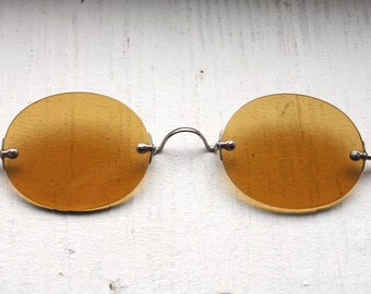 Rare Antique 1800s Sharpshooter Sunglasses // Rare Victorian Amber Yellow Sunglass Lenses // 19th Century // Civil War Era // #S3