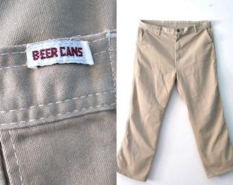 SALE Vintage 70s Mens Khaki pants / Beer Cans Hipster tan brown pants / Boho Hippie 70s Mens jeans pants / 40 x 30