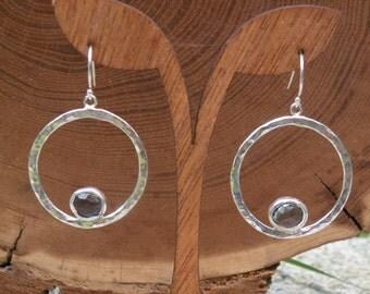 Blue Topaz Earrings ~ Hammered Hoops