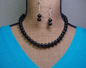 Natural Black Onyx Gemstones, 925 Silver Necklace and Earrings