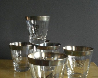 30% off SALE 6 For Your Tonic and Gin - Vintage Set of 6 Georges Briard Barware Glasses with Silverplate Rims - Dorothy Thorpe Style