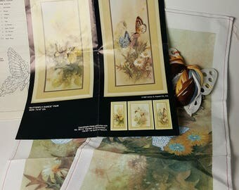 Bucilla Butterfly Dance Crewel Kit 2 Panels 1987 Vintage