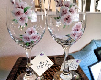 Hand Painted Wine/Water (2) Glasses ~ Cherry Blossoms  -  'Flowers