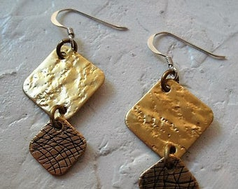 Textured Brass Square Earrings