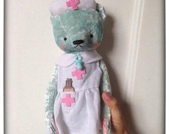 Xmas SALE 12 inch Artist Handmade Mint Plush Teddy Bear Nurse Sofia by Sasha Pokrass