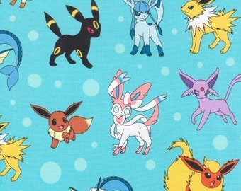 Robert Kaufman Aqua Pokemon Fabric by the yard AOP1621070