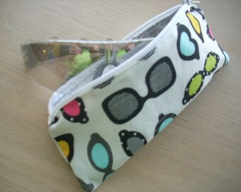 ann kelle remix sunglass print with uppercase alphabet zippered pouch - FREE SHIPPING