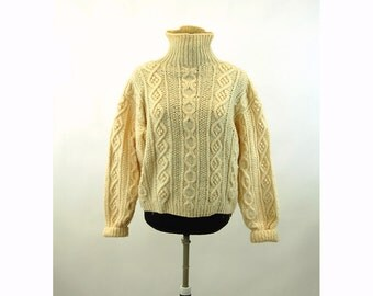 Hand knit wool fishermans sweater cable knit pullover jumper turtleneck Size M/L