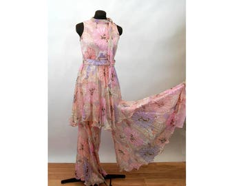 1960s tunic and bell bottom palazzo pants sheer silk chiffon floral large flowers pink purple Size M