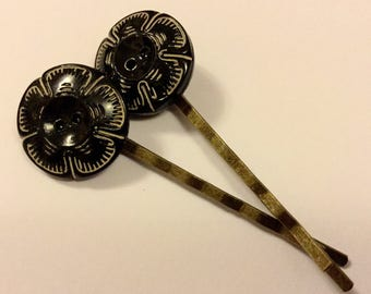 Vintage Art Deco Glass Button Hair Slides Clips Grips Pins Combs Hairgrips Hairclips