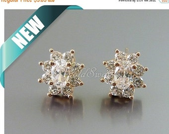15% SALE 2 pcs / 1 pair of bright rose gold plated oval flower Cubic Zirconia / CZ crystal ...