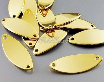 4 pcs curved marquise leaf shape connectors, hight quality bright gold plated brass bar blanks 2085-BG bright gold