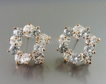 2 large 16mm rose gold tiered CZ Cubic cluster flower earrings, Cubic Zirconia earrings, bridal earrings E2055-BRG