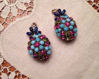 Schreiner Berry Earrings Mauve Pink Rhinestones faux Turqoise Lapis