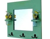 "Mirror - Coat Rack - Key Rack - Jar Vases - 20"" x 20"""