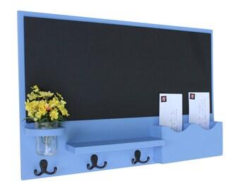 Chalkboard Mail Key Holder Mason Jar- Chalkboard Mail Organizer - Letter Holder - Organizer - Coat Rack - Wood