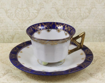 Vintage Chikaramachi Hand Painted Blue and Gold Gilt Demi Tasse Footed Cup and Saucer
