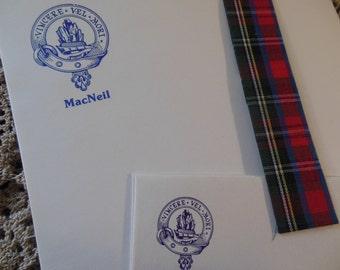 MacNeil Clan Stationery with Tartan Strip and Clan Map of Scotland