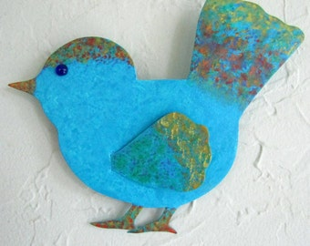 Metal Art Blue Bird Wall or Stake Sculpture Recycle Metal Small Metal Bird Garden Art Indoor Outdoor 7 x 7