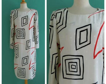 80's white abstract shapes shirt dress ~ medium large