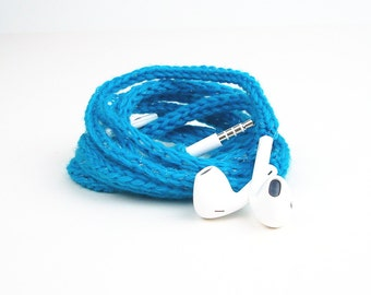 Tangle Free Knit Apple Earpods in Sparkly Turquoise