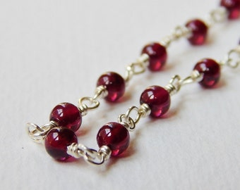 Garnet Necklace - Beaded Sterling Silver Necklace Rosary Necklace Beadwork Necklace Rosary Chain 18-inch necklace