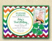 10% OFF SALE Birthday Invitation, Shamrock Birthday Invitation, Rainbow Invitation, St Patrick's Day Invitation, St Patty's Day, 4 leaf Clov