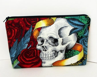 Skull Make-up Zipper Pouch, Day of the Dead, Skulls and Roses,  Cosmetic Bag