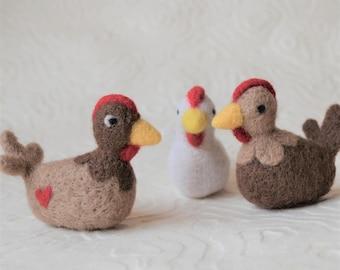 Chicken, needle felted barnyard animal fiber art sculpture toys