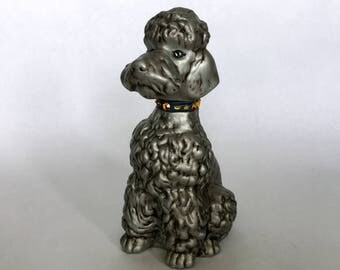 silver ceramic 70s poodle - 1211329