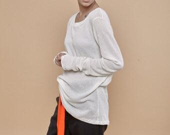 NEW! White long sleeve shirt - extra long sleeves - long sleeve tshirt - long sleeve t shirt - knit shirt - long shirt - white top