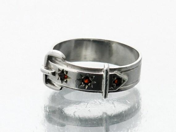 Vintage Garnet Ring | Sterling Silver, Garnet Belt & Buckle Buckle Ring | 925 Silver | January Birthstone  - US Ring Size 7, UK Ring Size O