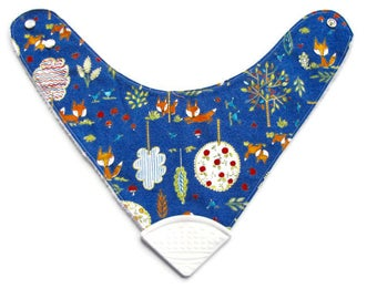 Baby Bandana Bib With  Sewn on Food Safe  Silicone Teether Corner, Foxes, Reversible  Minky Lined